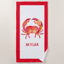 Red Watercolor Crab Ocean Sea Life Marine Kids Beach Towel
