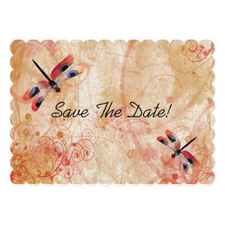 Red Watercolor Dragonflies Save The Date Card