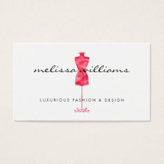 Red Watercolor Dress Mannequin Fashion Boutique Business Card at Zazzle