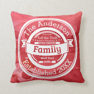 Red Watercolor Family Rules, Name Year Established Pillow
