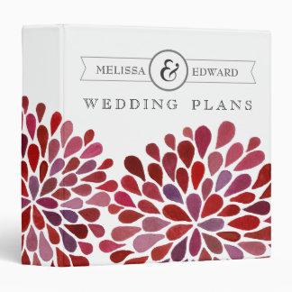 Red Watercolor Floral Wedding Planner Binder