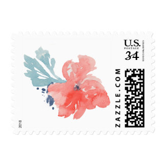Red Watercolor Flower Stamp