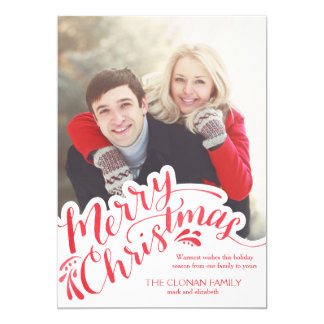 Red Watercolor Hand Lettered Merry Christmas 5x7 Paper Invitation Card