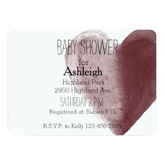 Red Watercolor Heart baby shower Card