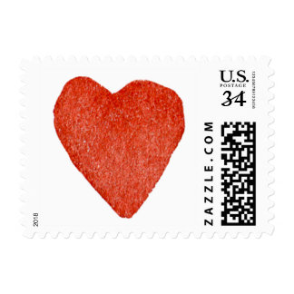 Red Watercolor Heart Postage
