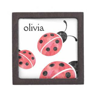 Red Watercolor Ladybugs Personalized Girls Keepsake Box