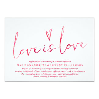 Red Watercolor Love is Love Gay Wedding Card