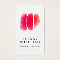Red Watercolor Makeup Artist Swatches Business Card at Zazzle