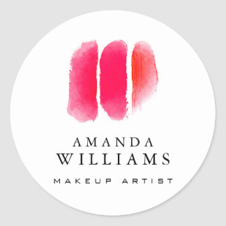Red Watercolor Makeup Artist Swatches Classic Round Sticker