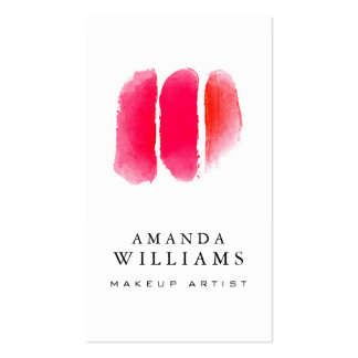 Red Watercolor Makeup Swatches Makeup Artist Double-Sided Standard Business Cards (Pack Of 100)