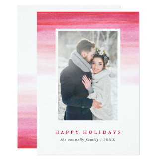Red Watercolor Ombre   Holiday Photo Card