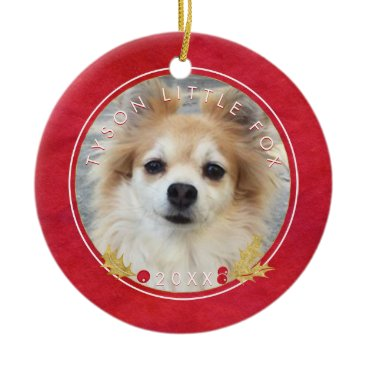 Beach Themed Red Watercolor PET PHOTO Merry Little Christmas Ceramic Ornament
