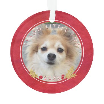 Beach Themed Red Watercolor PET PHOTO Merry Little Christmas Ornament
