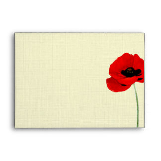 Red Watercolor Poppies Floral Wedding Collection Envelope