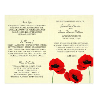 Red Watercolor Poppies Floral Wedding Collection Flyer