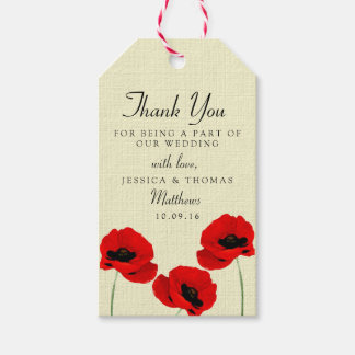 Red Watercolor Poppies Floral Wedding Collection Gift Tags