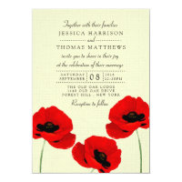 Red Watercolor Poppies Floral Wedding Collection Invitation
