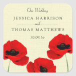 Red Watercolor Poppies Floral Wedding Collection Square Sticker