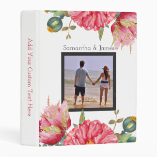 Red Watercolor Poppies Personalized Mini Binder