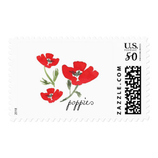 Red Watercolor Poppies Postage