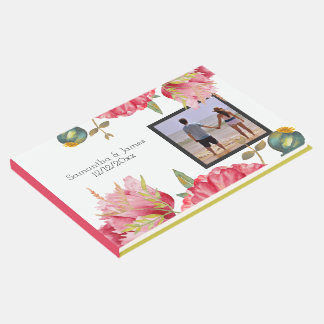 Red Watercolor Poppy Themed Wedding Personalized Guest Book