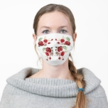 Red Watercolor Roses Adult Cloth Face Mask