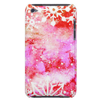 Red Watercolor Snowflake Barely There iPod Cover