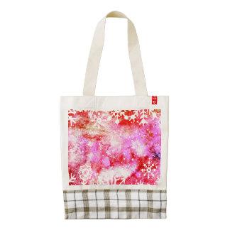 Red Watercolor Snowflake Zazzle HEART Tote Bag