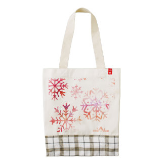 Red Watercolor Snowflakes Zazzle HEART Tote Bag