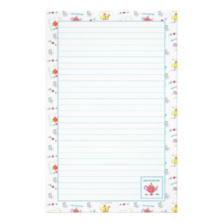 Red Watercolor Teapot Blue Lined Stationery