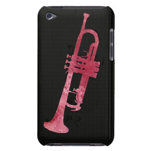 Red Watercolor Trumpet Barely There iPod Cases