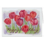 Red Watercolor Tulips Birthday Card