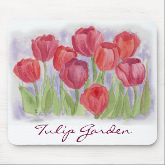Red Watercolor Tulips Mousepad