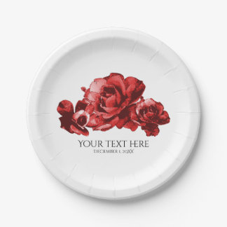Red Watercolor Vintage Roses Elegant Wedding Paper Plate