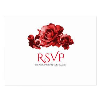 Red Watercolor Vintage Roses Wedding RSVP Postcard