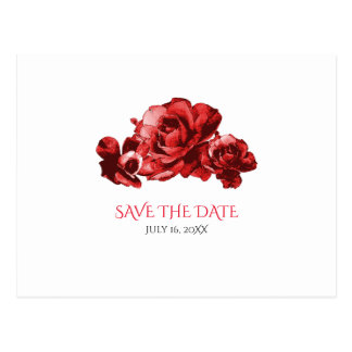 Red Watercolor Vintage Roses Wedding Save the Date Postcard