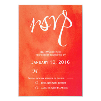 Red Watercolor Wedding RSVP Card
