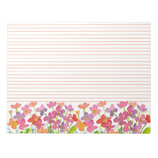 Red Watercolor Wildflowers Orange Lined Notepad