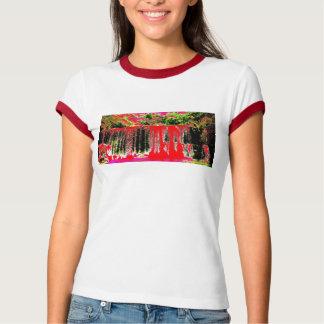 Red Waterfall ringer T-shirt womens