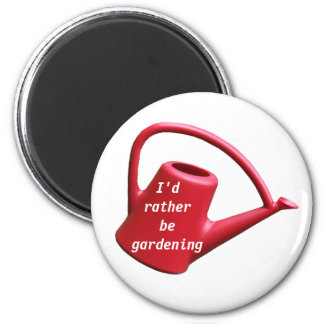 Red Watering Can - I'd Rather Be Gardening 2 Inch Round Magnet