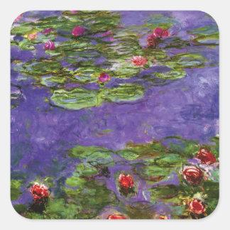 Red Waterlily Pond Impressionism Sticker Square Sticker