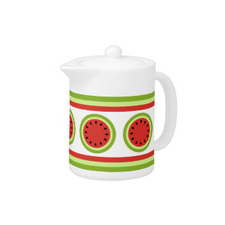 Red Watermelon and Stripes   Teapot