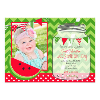 Red Watermelon birthday invitation Card