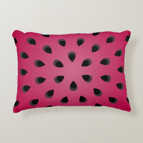 Red watermelon chunk with seeds accent pillow
