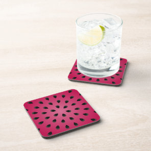 Red watermelon chunk with seeds beverage coaster