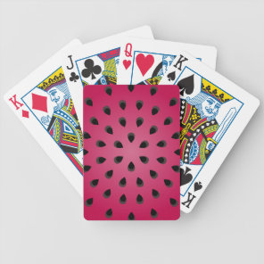 Red watermelon chunk with seeds bicycle playing cards