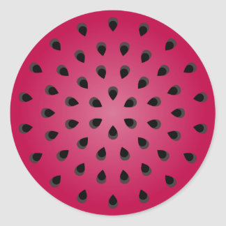 Red watermelon chunk with seeds classic round sticker