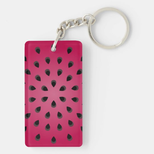 Red watermelon chunk with seeds keychain