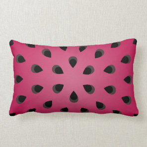Red watermelon chunk with seeds lumbar pillow