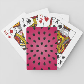 Red watermelon chunk with seeds playing cards
